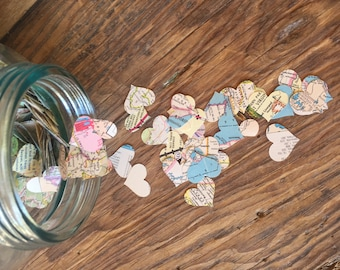 Vintage Map Heart Shaped Confetti