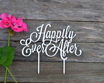 Wedding Cake Topper Happily Ever After Cake toppers for Wedding gold silver black white