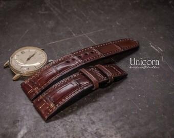 Alligator watch strap handmade Leather, Handmade Vintage Leather Strap, Leather Watch Band