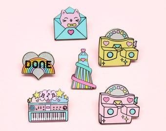 Any 3 Pins - cute enamel pin set   pin set   pin gift   pin collection   retro pins   cute pins   pastel gift   pastel pin set