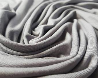 Plain Grey Viscose Jersey Fabric - UK Seller