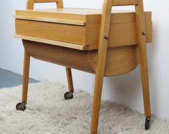 Mid century sewing box utensilo oblique legs roll 50s