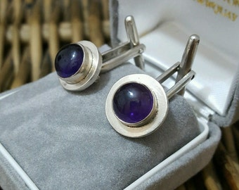 Vintage 1997 solid silver men's cufflinks with amethyst gemstones,uk hallmarks