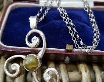 Vintage 925 sterling silver necklace, celtic spiral & connemara marble pendant