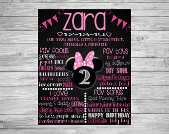 Second Birthday Chalkboard/2nd Birthday/Printable Chalk Poster/Minnie Mouse Theme/Decorations/Printable Custom Sign/Pink/Dark Pink