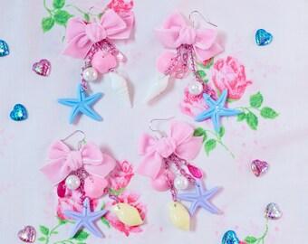Mermaid shell and pink velvet bow - kei fairy earrings