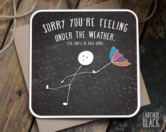 Get Well Soon Card / Get Well Soon / Sympathy card / Sorry card / Under the weather / Cute Get well / Cute sorry card / SM06