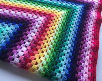 Crochet Baby Blanket, Rainbow striped blanket, crochet blanket, baby shower gift, granny square, nursery bedding, rainbow baby gift, rainbow