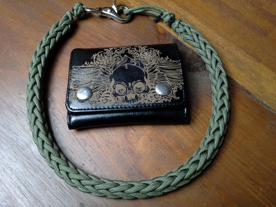 Od green handcrafted 550 paracord wallet chain lanyard black for How to make a paracord wallet chain