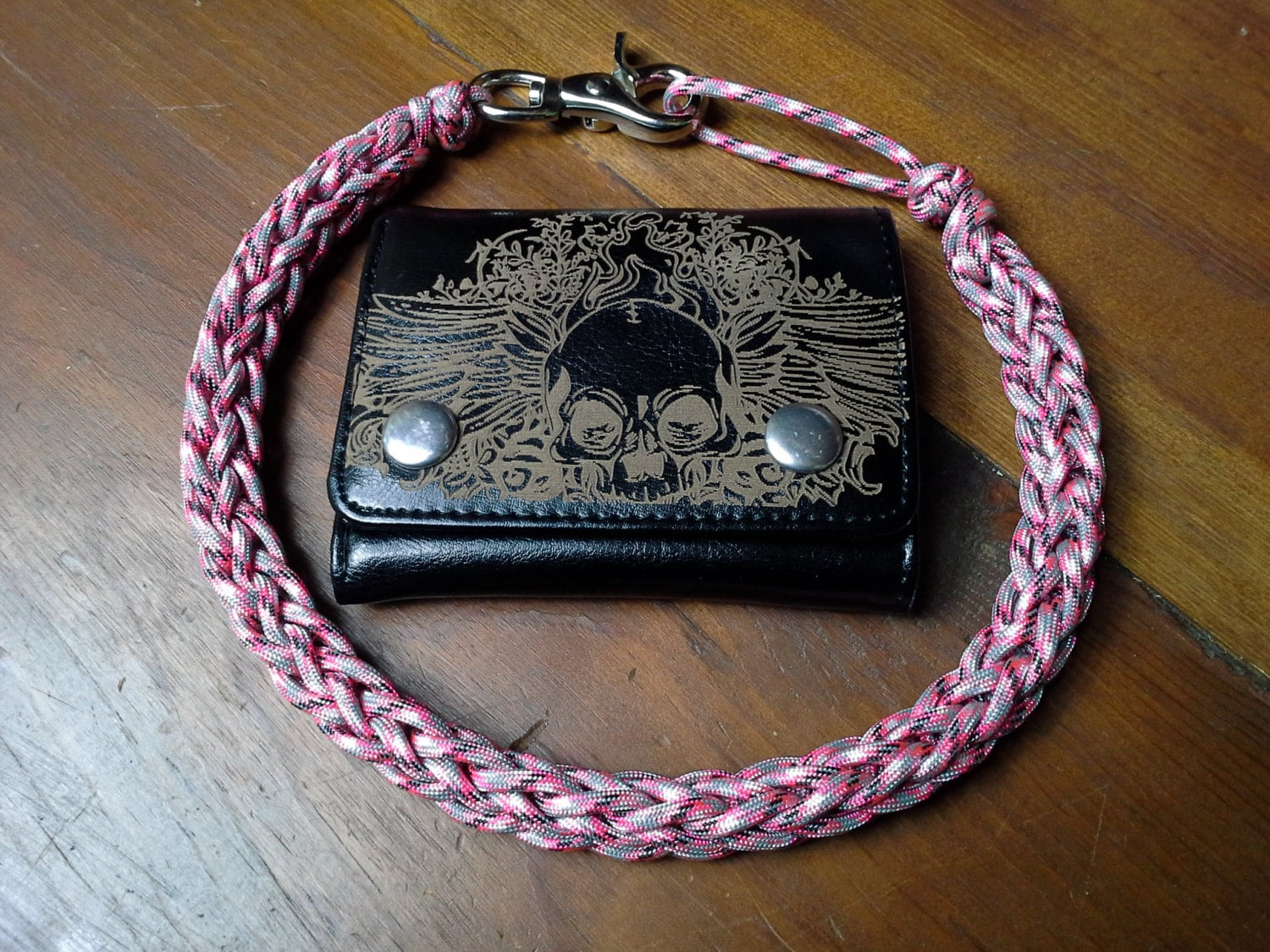 Pink camo handcrafted 550 paracord wallet chain lanyard black for How to make a paracord wallet chain