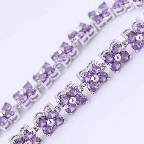 Lovely 18 ct white gold filled purple sapphire crystal bracelet