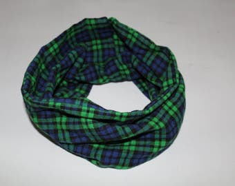 Infinity Scar, Toddler Infinity Scar, Scarf, Fashion, Plaid Scarf, Green and Blue