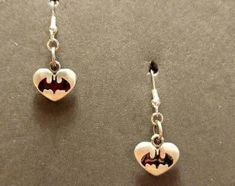 Batman heart with silver Fishhook