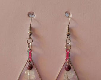 Purple and Clear beaded Silver Tear Drop Earrings with silver fishhook