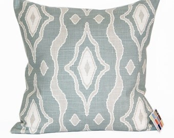Aqua and Gray Pillow Cover with Zipper Closure, Magnolia Home Max Pillow Cover in Spa