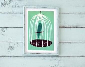 A4 *blauer Papagei* tropisch exotisch Illustration Poster Print Bild Dekoration Badezimmer Wohnung Wohndecor