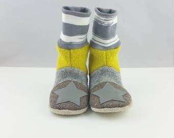 Wool felt slippers size from 26/27,Kindergartenschuhe,Schuhe for children, kids slippers, Hauspuschen, slippers, yellow shoes