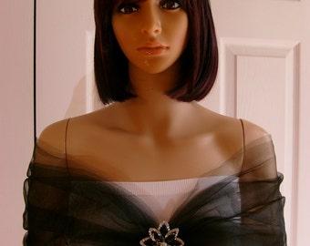 Wrap Shawl Shrug Evening Wear Formal Black Tulle with Rhinestone Embelishment Lovely!