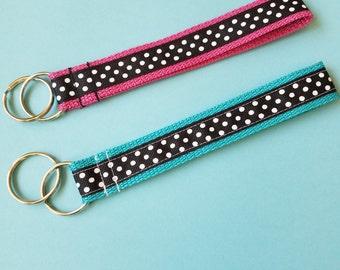 Black white polka dots ribbon key fob keychain wristlet