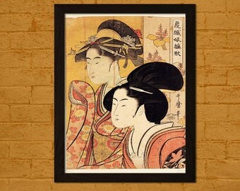 FINE ART REPRODUCTION Two Beauties with Bamboo 1795 Utamaro Ukiyo-e Vintage Fine Art Print Retro    Japanese Art Oriental