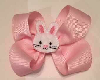 Easter Bunny Bow Easter Hair Bow Pink Easter Bunny Bow Pink Easter Bow with White Bunny Feltie
