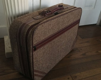 Tweed Skymaster Suitcase Vintage Luggage