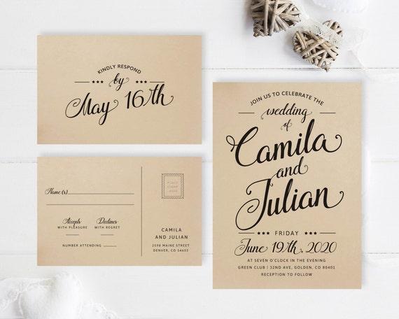 Email Wedding Invitation: Simple Wedding Invitations Printed On Kraft Paper / Modern