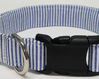 dog collar, blue seersucker, seersucker dog collar, seersucker collar, j crew inspired