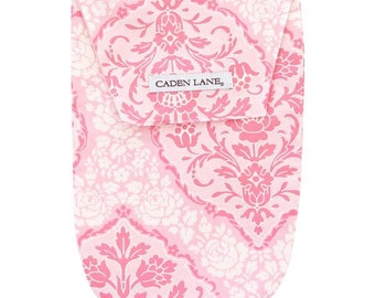 15% OFF SALE - Delaney's Damask | Pink and Gray Diaper and Wipe Holder