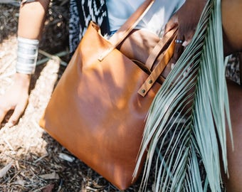 Carry-All Cognac Leather Tote
