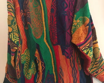 1980s VINTAGE Authentic COOGI Sweater // Made in Australia // Rainbow Sweater // Vibrant Colours // Unisex Clothing // Size S