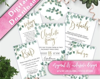 Printable Wedding Invitation Set, Eucalyptus Wedding Invitation, Watercolour Foliage Inviations, Printable Invitation Set, Invitation Bundle