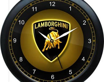 Lamborghini Wall Clock Garage Work Shop Gift Father's Day Man Cave Rec Room