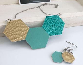 """Set necklace and earrings """"Three hexagons"""" - gold and turquoise"""