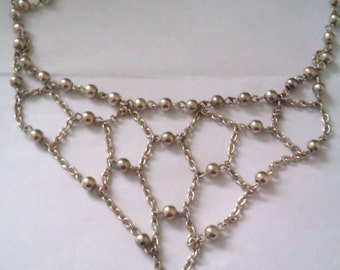 silver coloured ball bead necklace