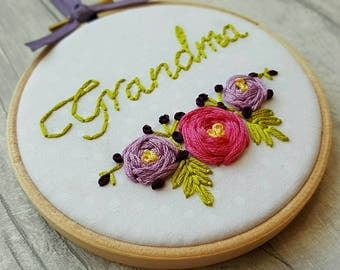 Embroidery hoop art, Embroidery, Embroidery Hoop, Personalised Gift, Personalized, Gift for MUM, Gift for Nana, Wall Art
