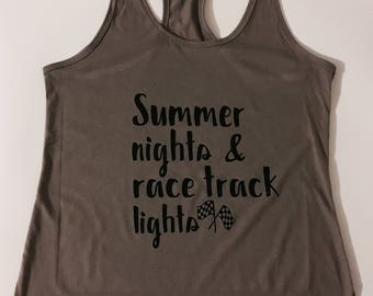 Summer Nights & Race Track Lights Tank Top/ Personalized Racing Shirt