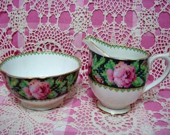 Lovely Vintage Royal Albert NEEDLE POINT Milk & Sugar Set.