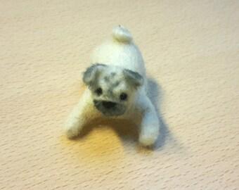 miniature needle felted pug, neede felted dog, needle felted animal, felted art and dolls