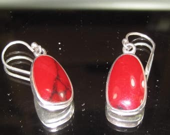V-29 Vintage Earrings 925 silver red jasper stone