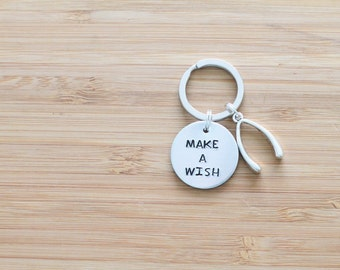 hand stamped keychain | make a wish