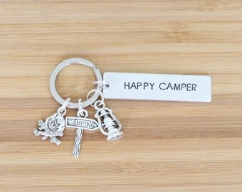 hand stamped keychain | happy camper
