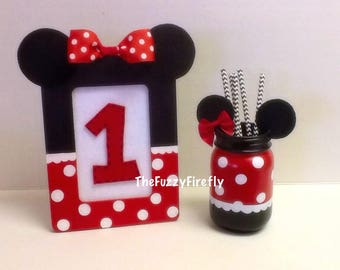 Minnie Mouse Inspired Photo/Birthday Number Frame,Minnie Photo Frame,Minnie centerpiece,Goofy Baby Announcement Frame,Goofy Baby Shower
