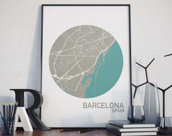 Barcelona, Spain City Map Print