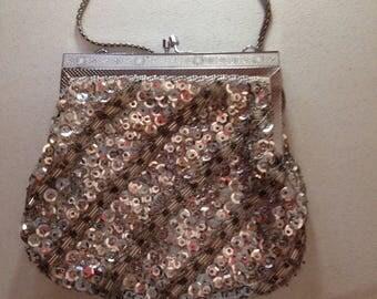 Vintage silver glitter glam evening bag