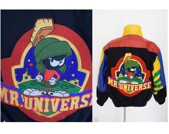 Vintage Martin the Martian Mr. Universe color blocks varsity coach Looney Tunes  black denim jeans coat jacket