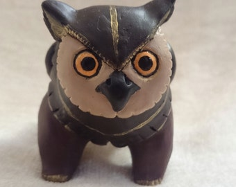 Mahogany Gwiffin Owl Griffon Sculpture
