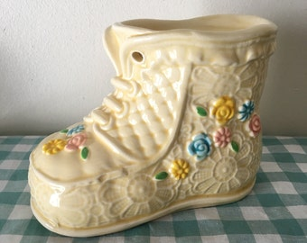 Inarco yellow floral baby shoe coin bank