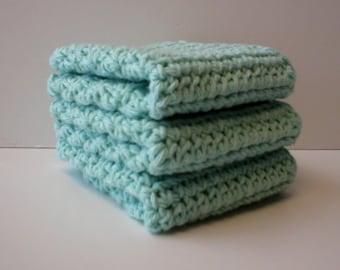 Handmade Crochet Cotton Dishcloths Washcloths, Set of 3 Pastel Blue (Dishcloths-5798)
