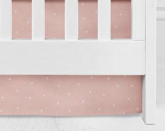 Blush Crib Skirt, Baby Bedding, baby girl nursery, baby girl light coral Baby Crib Skirt, blush crib, baby girl bedding, blush, rose, girl